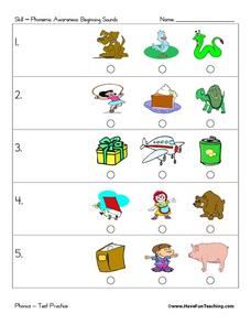 Phonics Test Practice: Beginning Sounds Worksheet