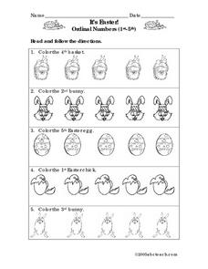 It's Easter! Ordinal Numbers 1st-5th Worksheet