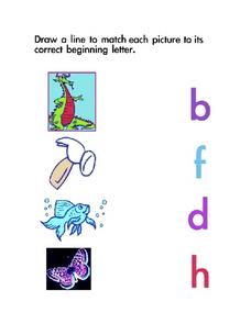 Beginning Letters Matching Lesson Plan