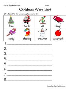Christmas Word Sort Worksheet