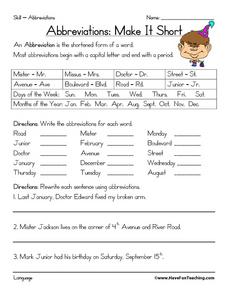 Abbreviations: Make It Short Worksheet