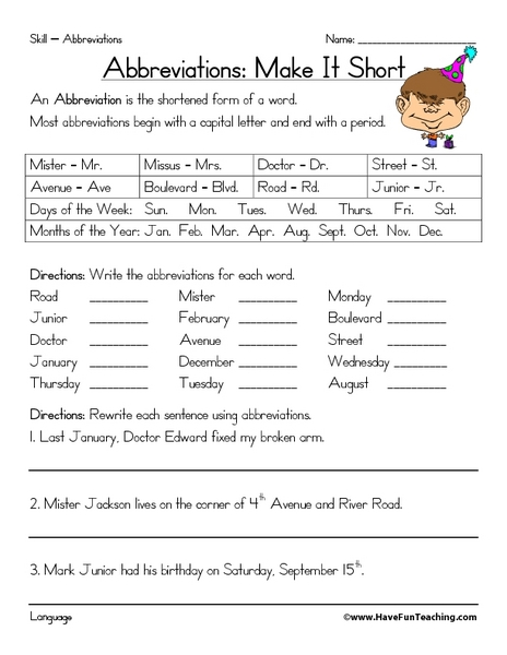 Street Abbreviations Lesson Plans & Worksheets Reviewed by ...