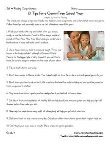 10 Tips for a Germ-Free School Year Worksheet