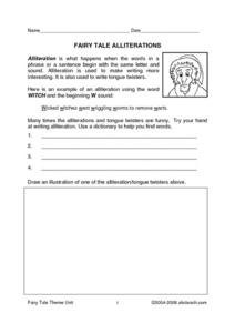 Fairy Tale Alliterations Worksheet