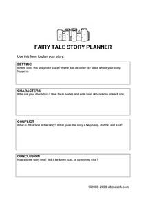 Fairy Tale Story Planner Worksheet