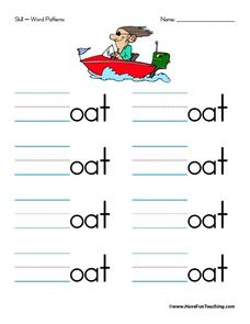 Word Patterns: Letter O Worksheet