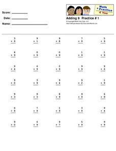Adding 9 Practice #1 Worksheet