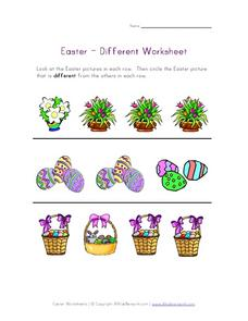 Easter - Different Worksheet Worksheet