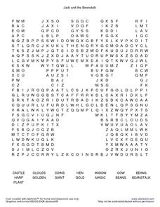 Jack and the Beanstalk Word Search Worksheet