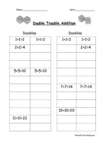Double Trouble Addition Worksheet