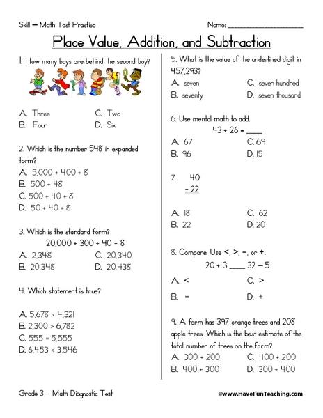 2nd grade place value subtraction worksheets