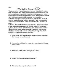 Why is the Ocean Salty? Worksheet