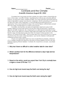 Contrails and the Climate Worksheet