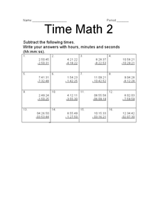 Time Math 2 Worksheet