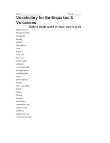 Vocabulary for Earthquakes and Volcanoes Worksheet