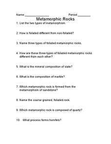 Metamorphic Rock Worksheet