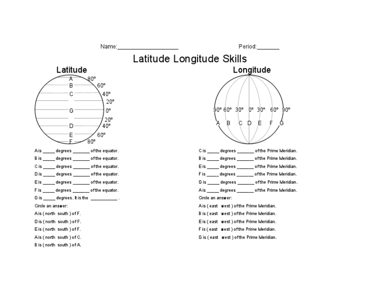 Latitude Longitude Skills Worksheet for 5th - 8th Grade ...