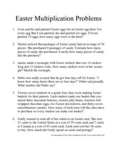 Easter Multiplication Problems Worksheet