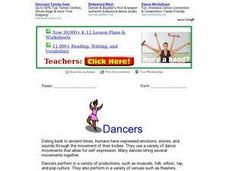 Dancers Worksheet