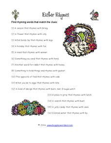 Easter Rhymes Worksheet