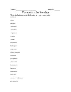 Vocabulary for Weather Worksheet