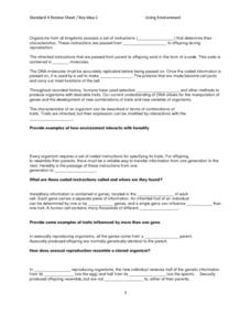 Standard 4 Review Sheet-Genetics and Inheritance Lesson Plan