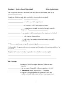 Standard 4 Review Sheet-Key Ideas Biology-The Living Environment Lesson Plan