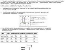 Relationships and Biodiversity Lab Practice Worksheet