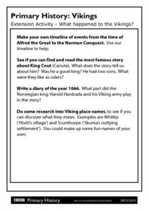 Primary History: Vikings Worksheet