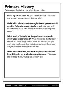 Primary History: Anglo-Saxon Life Worksheet