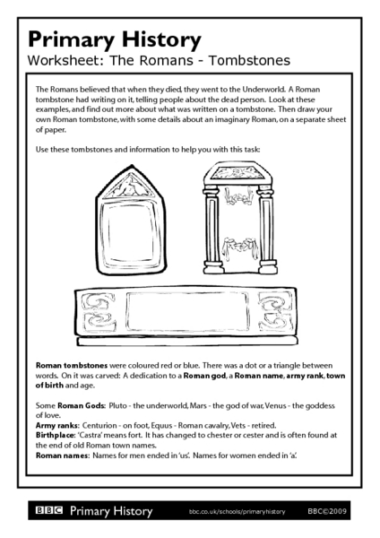 Primary History Worksheet: The Romans - Tombstones Worksheet for 4th