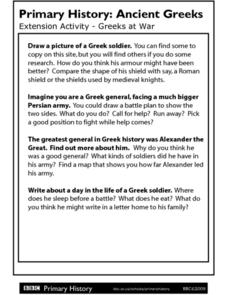 Primary History Extension Activity: Greeks at War Worksheet