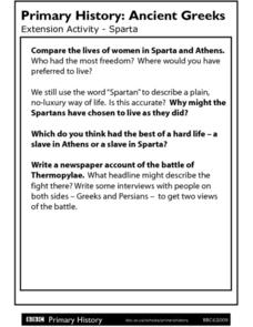 Primary History Ancient Greeks Extension Activity: Sparta Worksheet