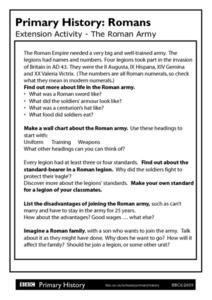Primary History Romans Extension Activity: The Roman Army Worksheet