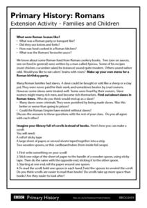 Primary History Romans Extension Activity: Families and Children Worksheet