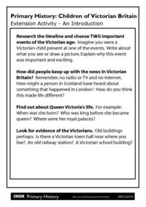 Primary History Children of Victorian Britain Extension Activity: An Introduction Worksheet