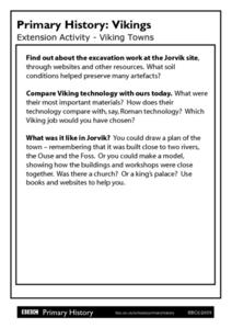 Primary History: Viking Towns Worksheet