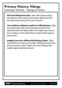 Primary History Vikings Extension Activity - Vikings at Home Worksheet