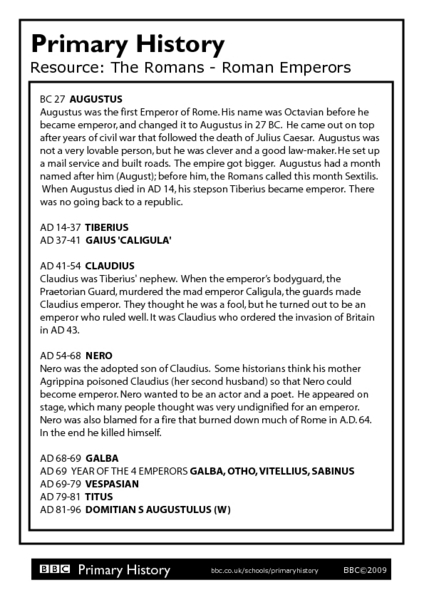 Primary History The Roman Emperor Worksheet For 6th 7th