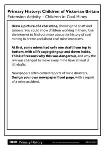 Primary History Children of Victorian Britain Extension Activity - Children in Coal Mines Worksheet