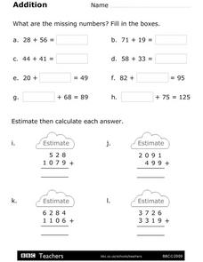 Addition - What Are the Missing Numbers? Worksheet