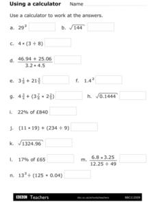 Using a Calculator - Percentages and Square Roots Worksheet
