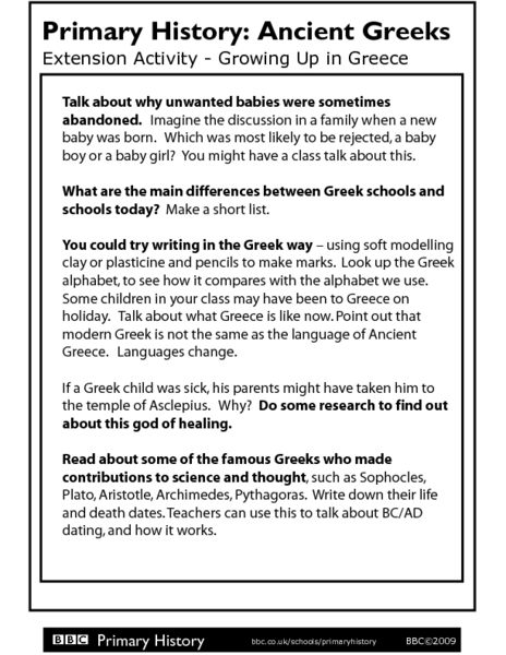 Primary History: Ancient Greeks - Growing Up in Greece 8th - 10th ...