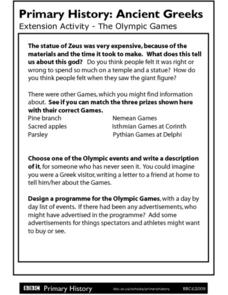 Primary History: Ancient Greeks - The Olympic Games Worksheet