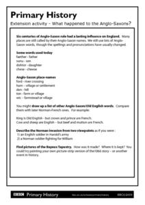 Primary History: What Happened to the Anglo Saxons? Worksheet