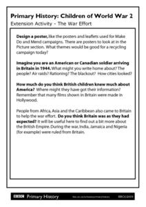 Primary History: Children of World War II - The War Effort Worksheet