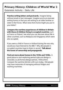 Primary History: Children of World War 2 Extension Activity- Daily Life Worksheet