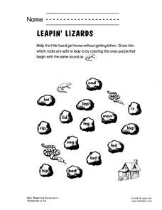 Leapin' Lizards Worksheet