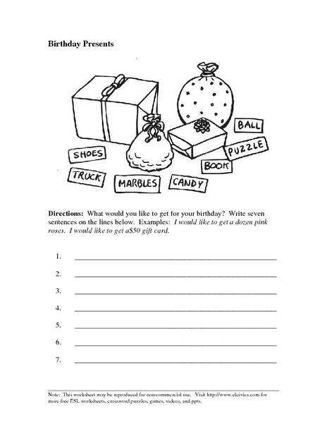 birthday presents writing sentences worksheet for 2nd 5th grade lesson planet. Black Bedroom Furniture Sets. Home Design Ideas