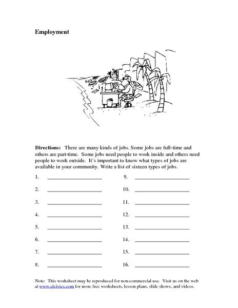 Employment Brainstorming Worksheet For 1st 2nd Grade